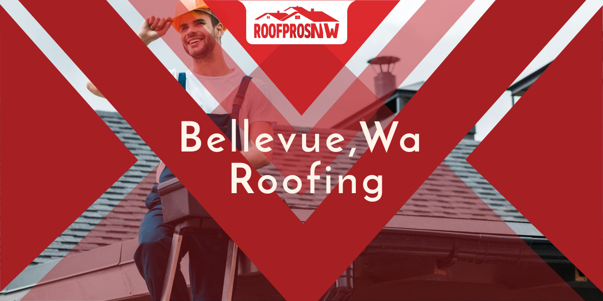 Man on a ladder wearing construction hat and overalls with white tee shirt with roof in background and an overlay of text reading bellevue roofing.